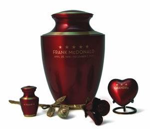Crimson Urn with rose