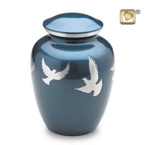 Flying doves large urn