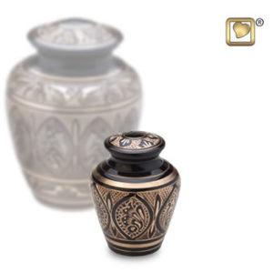 Black and gold keepsake urn
