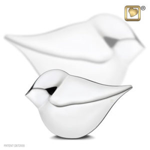 Silver keepsake bird urn