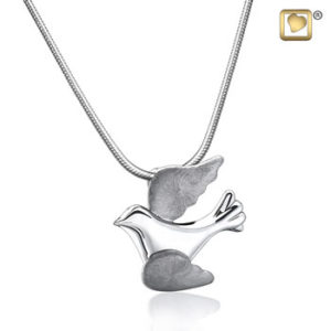 Flying Dove (Silver-Two Tone) Ash Pendant