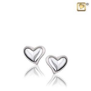 Leaning Heart (Silver-Two Tone) Earring