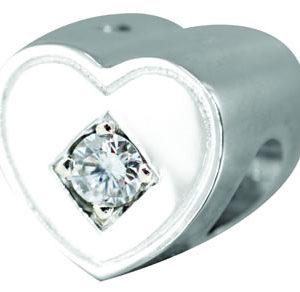 0.10pt Diamond Heart Tribute Bead - 925 SS