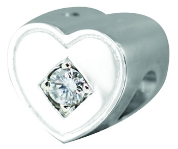 0.10pt Diamond Heart Tribute Bead - 925 SS